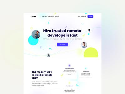 Landing Page - Hire trusted remote developers blue webdesign developers jobs remotework remote landingpage