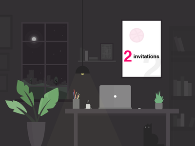 New Year Gift - 2x Dribble invitations workplace office vector illustrator scored member dribbble invitations invites invite