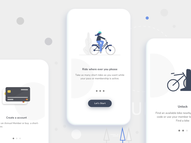 Onboarding Screens ui tour illustration sign onboarding bicycle
