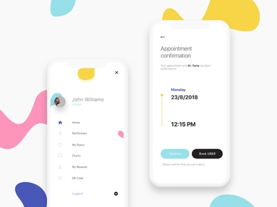 Profile & Appointment Screens profile design design ux ui mobile user experience light theme modern ui mobile ui design mobile app design dental clinic appointment profile