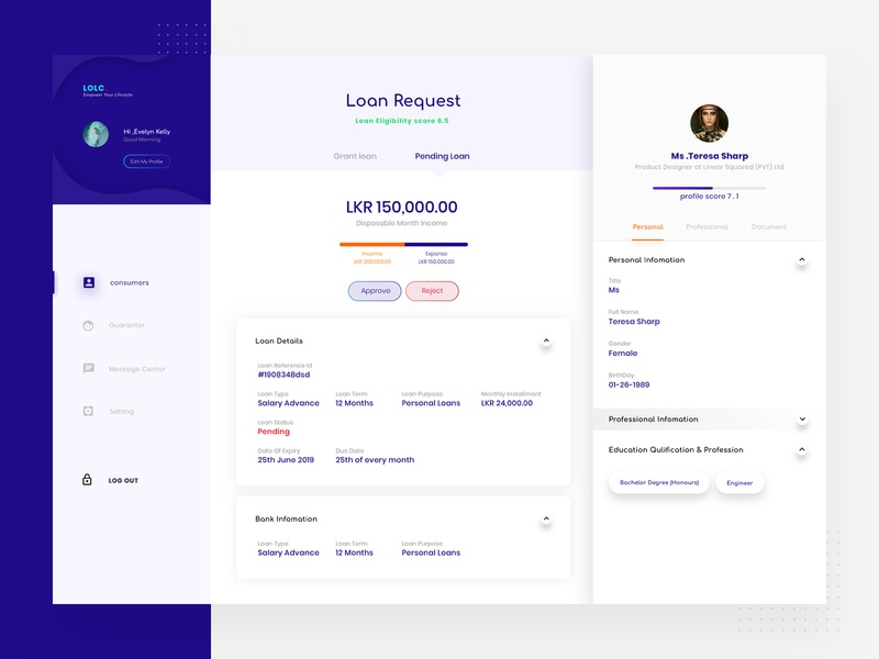 Load Approve,Reject & profile Page blue theme user experiences user interface design profile infomation web web application loan process apply loan loan profile loan reject loan approve