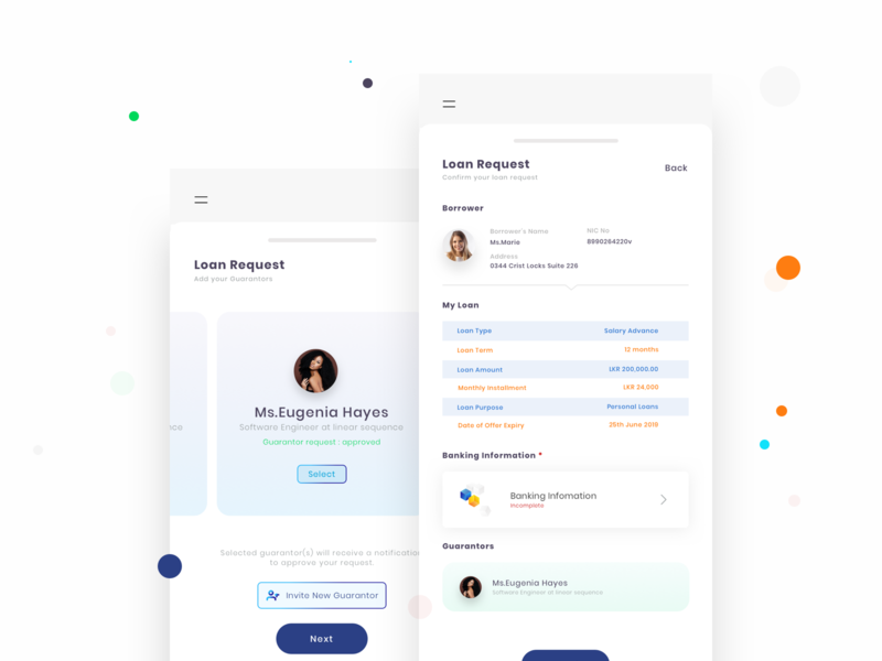 Loan Request Process cards sketch sketchapp mobile app design mobile app mobile loan request loan