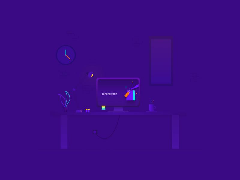 Coming Soon Page branding illustration web desgin dark ui dark theme vector landingpage coming soon