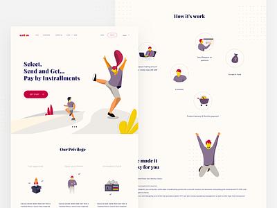 Landing Page - Pay by installments ecommerce shopping illustration art illustrator art branding design landingpage vector webdesign