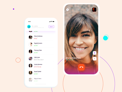 Chat application - voice and video communication crm voice design app uidesign mobile chat