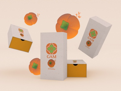 GAM - The Flavours of Autumn 감 한국 korean culture logo design renderman maya graphic design branding 3d art packaging design