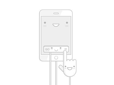 Illustration App Ux cute funny ipad iphone button ux mobile manga illustration