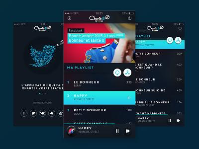 Chante Li Dribbble music app ui ux chante mobile facebook twitter vintage player playlist deezer