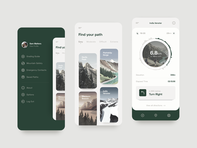 Hiking App Concept mobile explore hiking mountains illustration design app ui