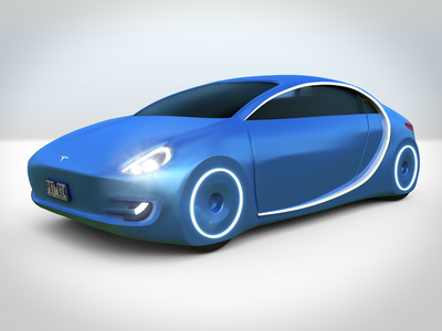 Tesla self-driving car concept driving self ai autonomous car cgi 3d tesla