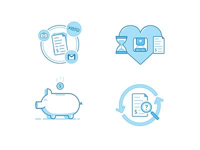 Illustrative icons check expense robot ui illustrator corporate business flat vector logo icon