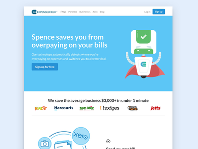 Startup Landing Page fintech corporate flat web business icon ux ui landing startup check expense
