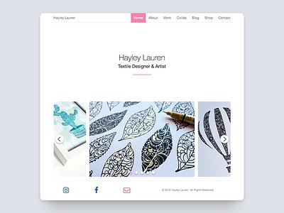 Hayley Lauren art portfolio website ux web ui white black minimal flat textile