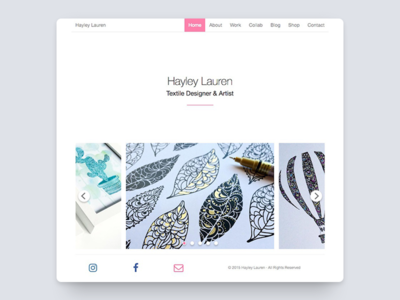 Hayley Lauren art portfolio website ux web ui white black minimal flat textile