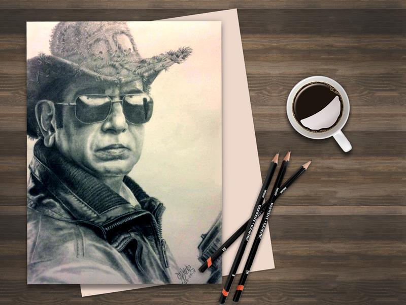 Late Captain Raju portrait art graphite drawing pencil sketch