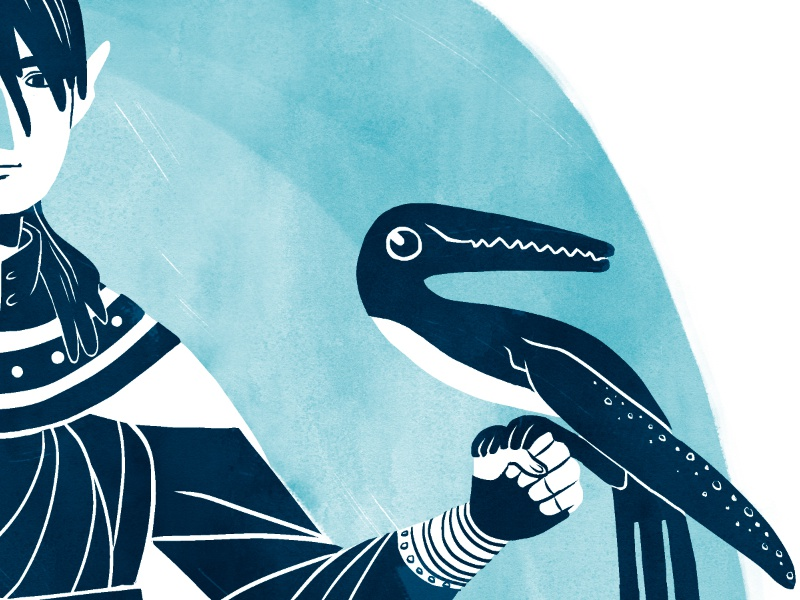 Whale bird kylesbrushes cartoon flat hair fantasy elf blue portrait illustration
