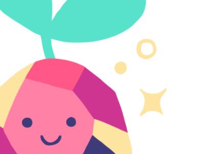 pebble sprout pokemon pink gemstone logo illustration