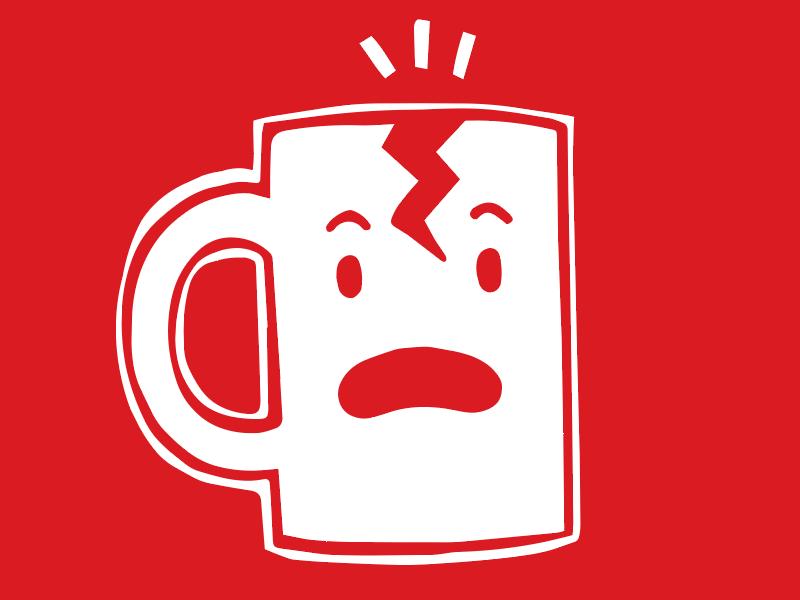 Fragile mug cartoon red label warning illustration