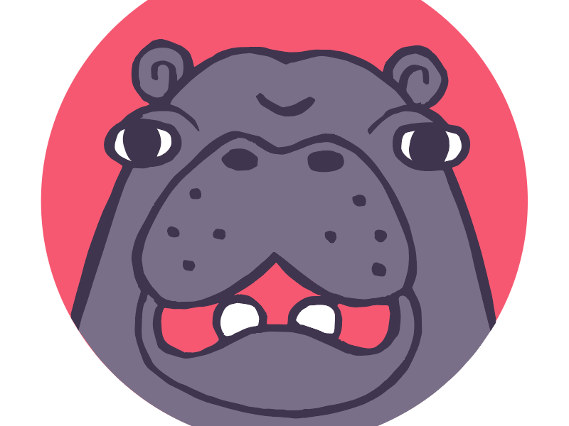 Hippo pal cartoon avatar animal illustration