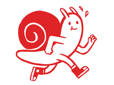 New year new snail red snail cartoon illustration