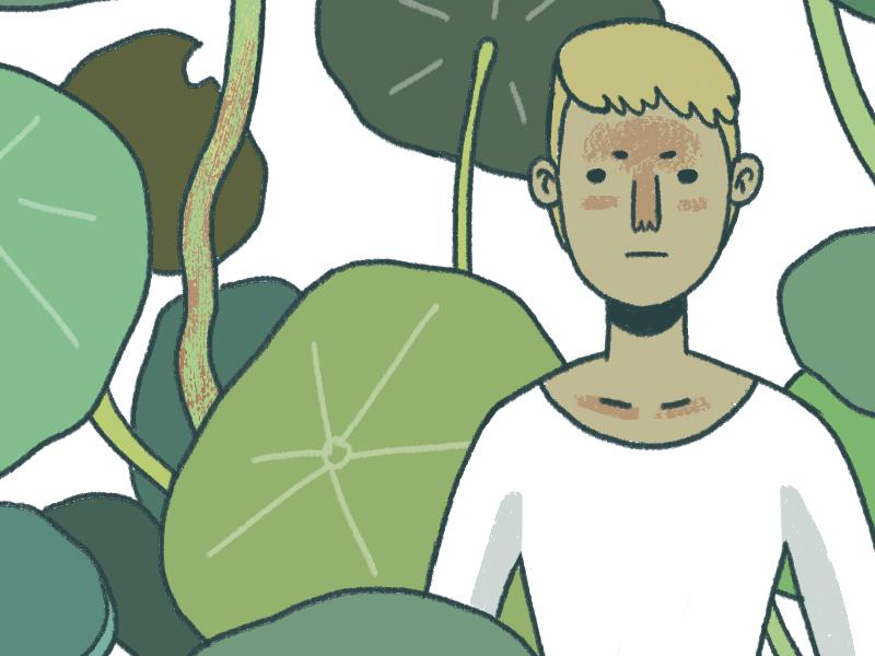 self portrait w nasturtium portrait plants kyles handdrawn cartoon australian illustration