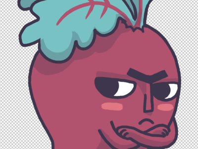 Cranky beetroot freehand maroon vegetables aussie cintiq illustration