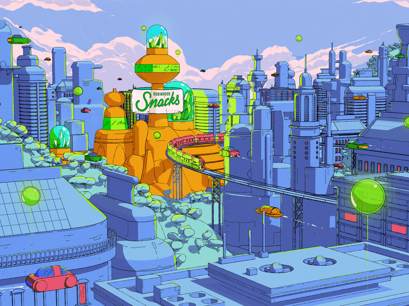 Robinhood Snacks — 10 Million Downloads c4d city futuristic 2d 3d