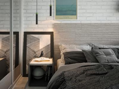 Bedroom, Interior design, 3d rendering