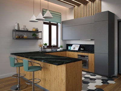 Country House, kitchen. 3d rendering