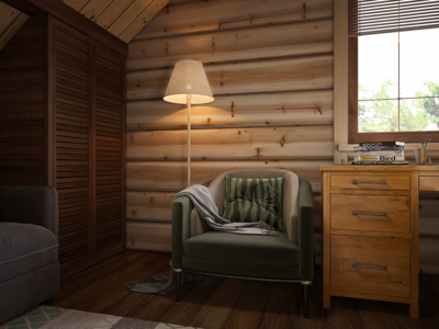 Attic, Interior design, 3d rendering