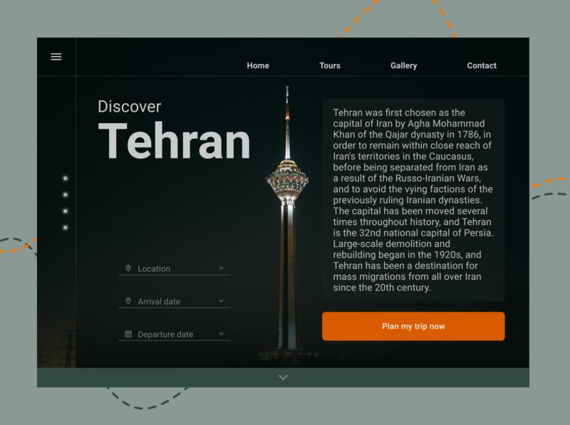 Tehran complementary orange green travel trip tehran ui