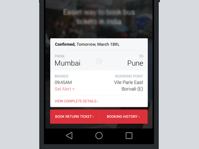 Ticket view booking travel ticket india interface interaction android