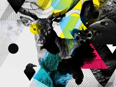 Tour Poster - WIP electronic music textures artwork dark grunge mix-media poster