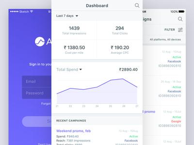 Campaign stats mobile stats ux minimal data analytics ui mobile ios