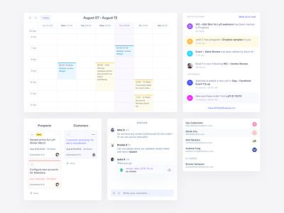 Thincloud components gordita india notifications kanban calendar ui web app social imprints thincloud saas design interface minimal