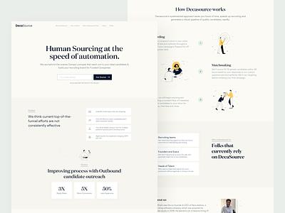 DecaSource Landing Page bangalore india gordita domaine display illustration website brand startup newsprint landing page minimal