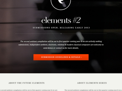 Elements #2  future elements microsite personal-projects background-image piano music netlabel web orange droid-serif didot photography interface