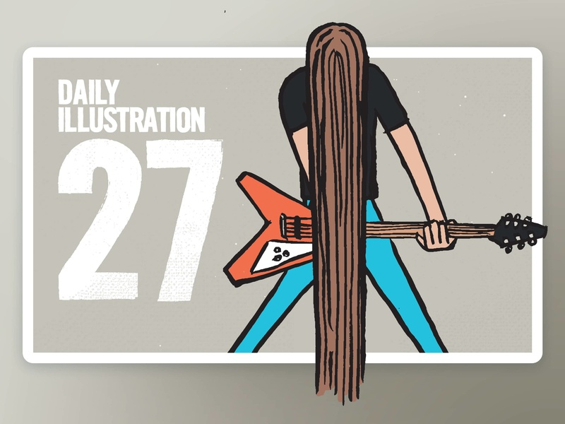 Daily Illustration 27 - These go to eleven. rock n roll band hair metal digitalpainting happy process creative artwork artdaily ink illustrator illustration handdrawn habit dribbble designspiration designfeed dailychallenge brushpen