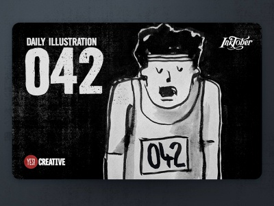 Daily Illustration 42 - Inktober Exhausted exhausted process inktober2018 inktober ink illustrator illustration happy handdrawn habit digitalpainting dailychallenge creative brushpen artwork artdaily