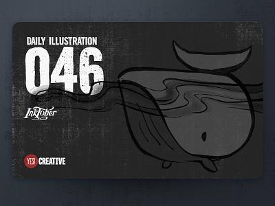 Daily Illustration 46 - Inktober Whale whale process inktober2018 inktober ink illustrator illustration happy handdrawn habit digitalpainting dailychallenge creative brushpen artwork artdaily