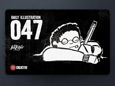 Daily Illustration 47 - Inktober Guarded guarded process inktober2018 inktober ink illustrator illustration happy handdrawn habit digitalpainting dailychallenge creative brushpen artwork artdaily