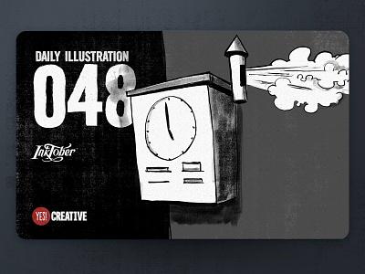 Daily Illustration 48 - Inktober Clock clock process inktober2018 inktober ink illustrator illustration happy handdrawn habit digitalpainting dailychallenge creative brushpen artwork artdaily