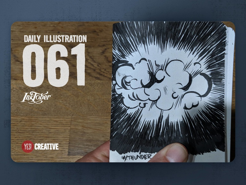 Daily Illustration 61 - Inktober No.27 Thunder.