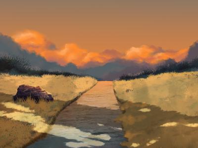 The sunset Background scene scene movie animation procreate illustration paintings concept environment grass sunset sky background natural landscape