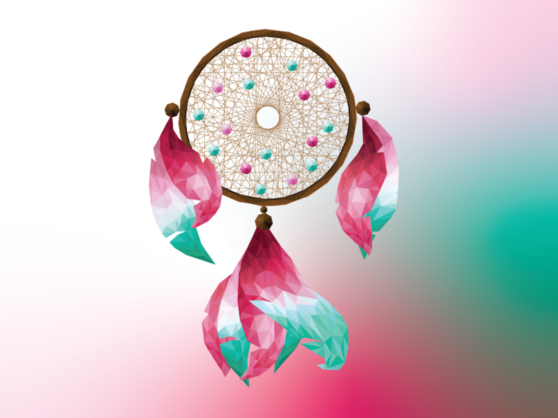 Poly Art Dream Catcher adobe illustrator illustration feathers graphic designer graphics digital art illustrator polyart graphic design