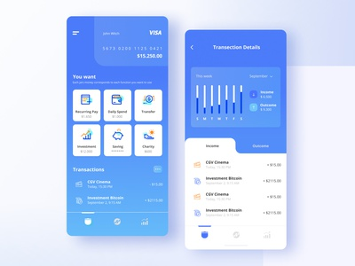 Usalbank - Mobile Banking combined with Digital Wallet transaction invest visa payment interface fintech finance concetp clean product design bank digital wallet bank app app icon ux ui