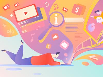 Social network website flat design vector web illustration