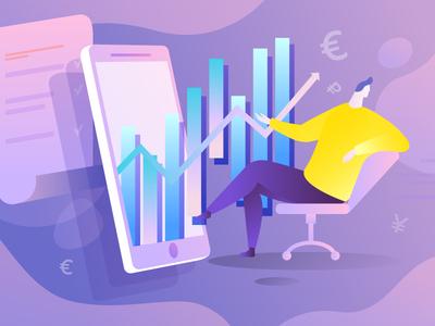 Finance art illustrator web website vector flat design illustration