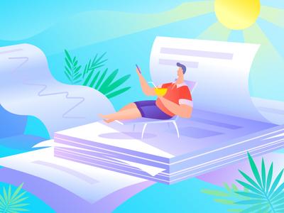 Investor on vacation design website art illustrator vector web flat illustration