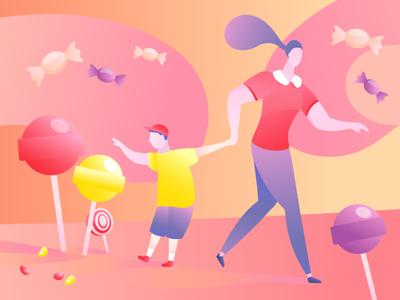 Parents and children vector website illustrator art web illustration